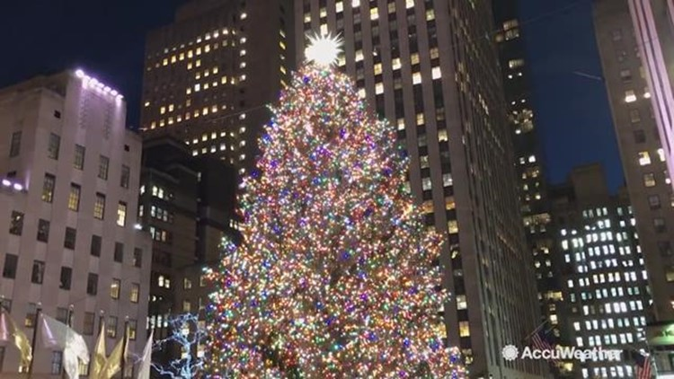 In New York City, the Rockefeller Center Christmas tree lighting up is a  sign of the holiday season in full force. AccuWeather reporter Kena Vernon  is in ... - Rockefeller Center Christmas Tree Lights Up For Holidays 9news.com