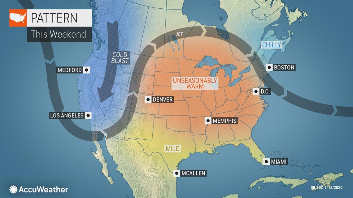 Milder Weather Warmer Temperatures Forecast For Much Of The Us During The First Week Of November 9news Com