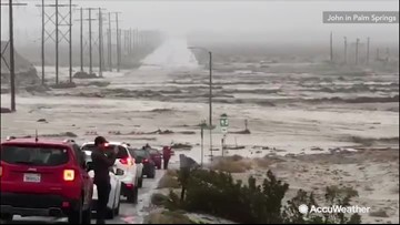 Torrential rain turns road into rushing river