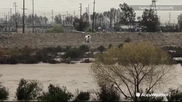 2 people saved during swift water rescue in Santa Ana River