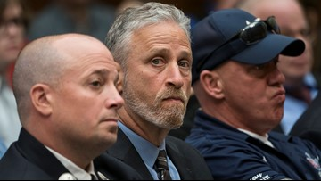 'I don't deserve this': Jon Stewart brought to tears by gift from 9/11 first responders