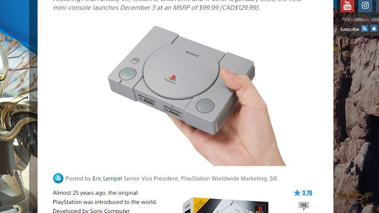 Sony Offers PlayStation Classic Mini-Console With 20 Games on December 3