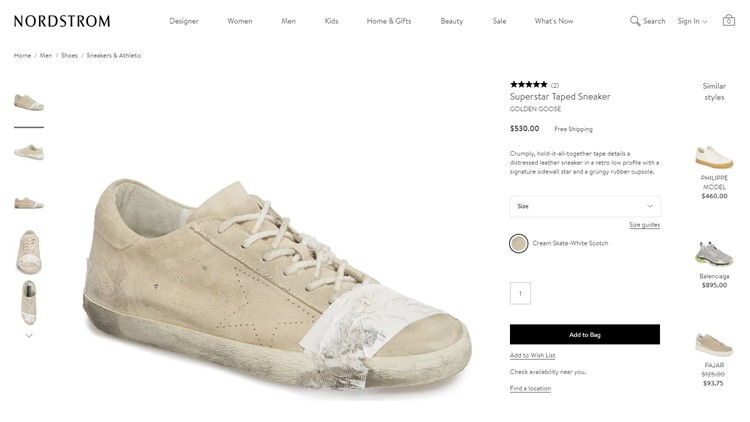 Nordstrom's taped, dirty-looking shoes