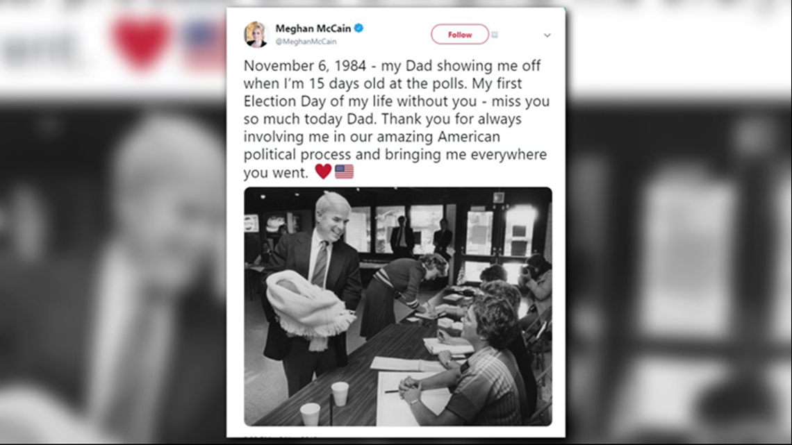 Meghan Mccain Tweets Touching Election Day Tribute To Her Dad 9news Com