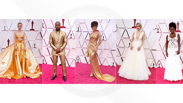 The Oscars bring back red carpet glam in whites and gold
