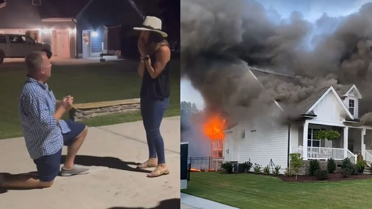 Boyfriend proposes after salvaging ring from massive house fire