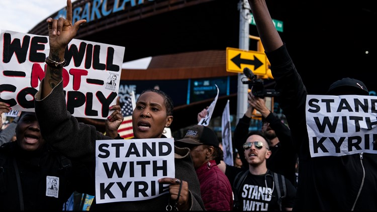 Protesters support Irving over vaccine mandate, storm arena before Brooklyn Nets game