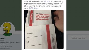 Delta Air Lines, Coca-Cola apologize for 'creepy' napkins