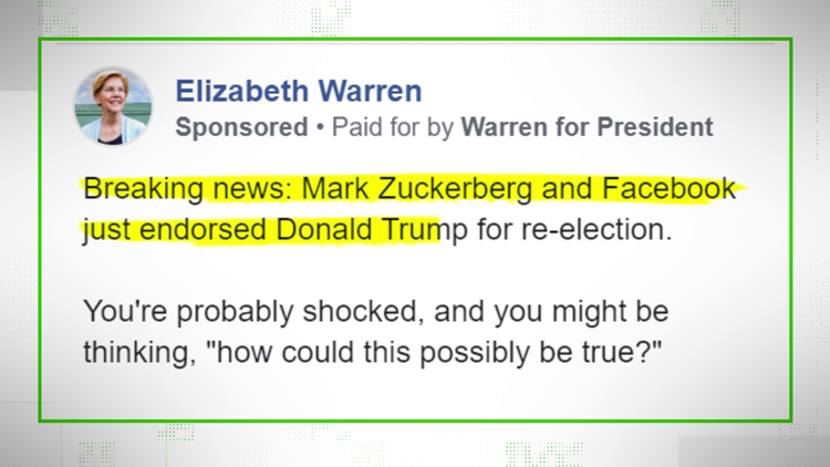 VERIFY: No, Facebook isn't endorsing Trump's re-election.