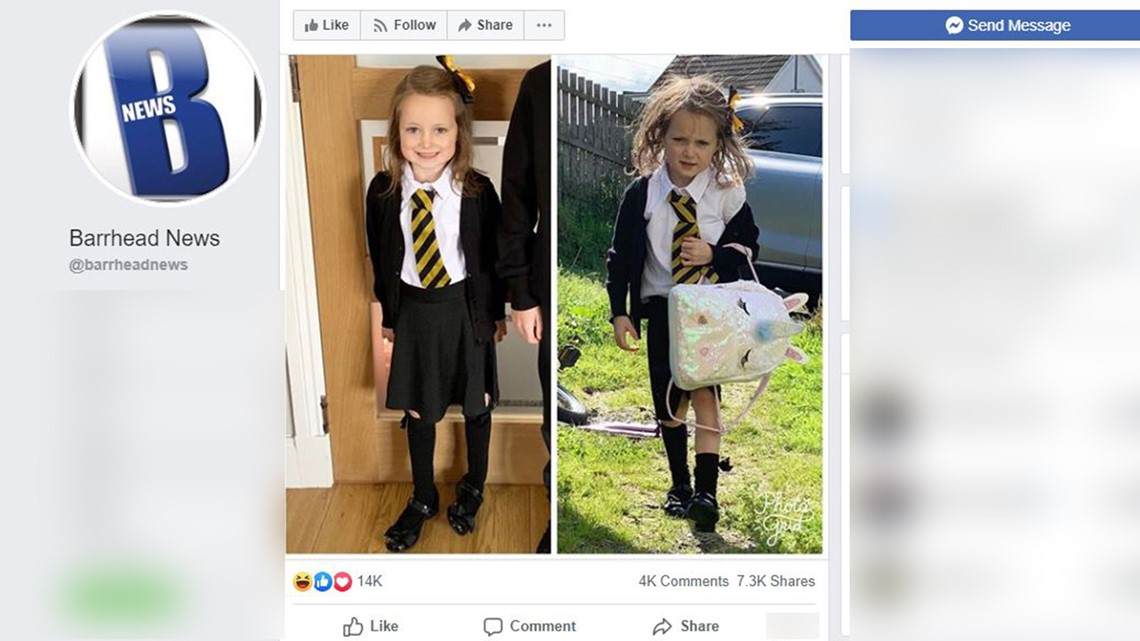 A before and after set of pictures showing a little girl neat and clean in one and a mess in the other