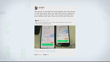 VERIFY: Does Uber charge you more based on your battery level?