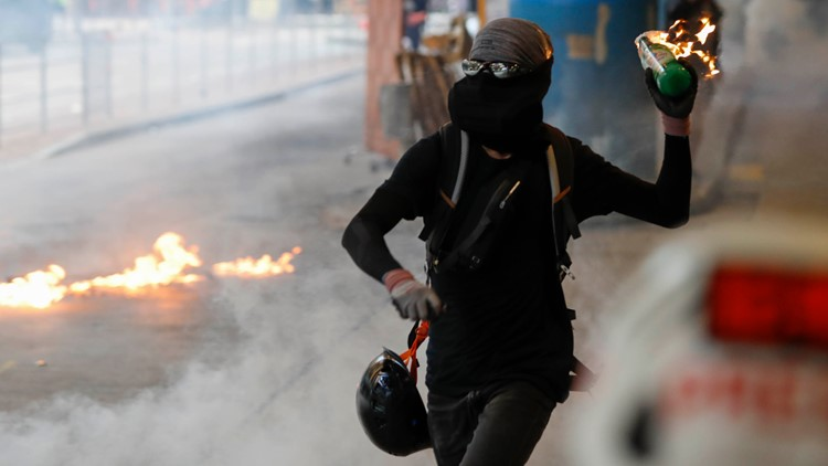 Hong Kong Protests molotov cocktail