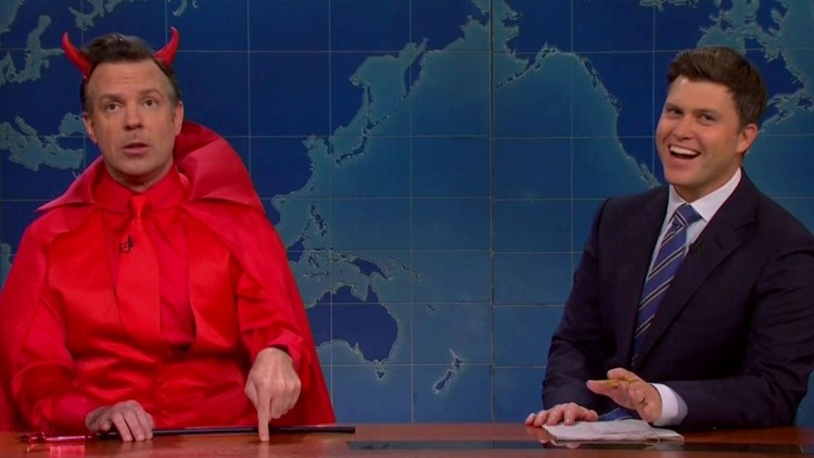 'SNL': Jason Sudeikis' Devil Says Colin Jost Made Deal With Him to Marry Scarlett Johansson