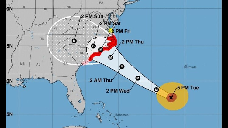 Pre-emptive flight cancellations for Hurricane Florence have begun as the storm continues to track toward the Carolina coast.