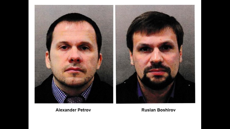 The suspects Alexander Petrov and Ruslan Boshirov charged in absentia with conspiracy to murder attempted murder and use of nerve agent Novichok