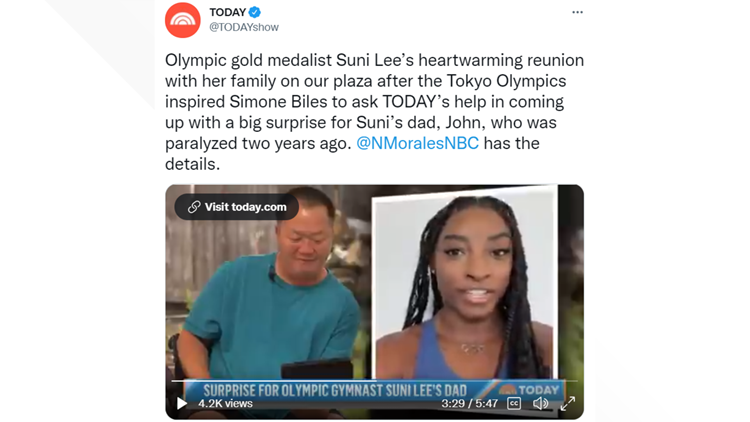 Suni Lee's dad receives electric wheelchair from Simone Biles