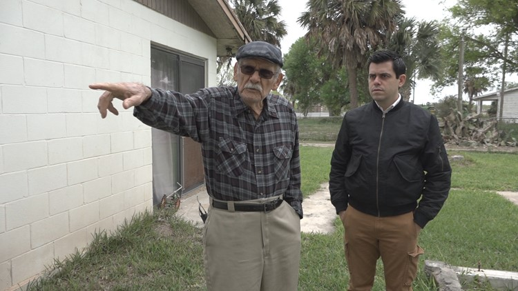 Los Indios resident Robert Martinez points to a canal typically used to smuggle migrants