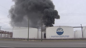 What chemicals are burning in Houston-area tank fire?