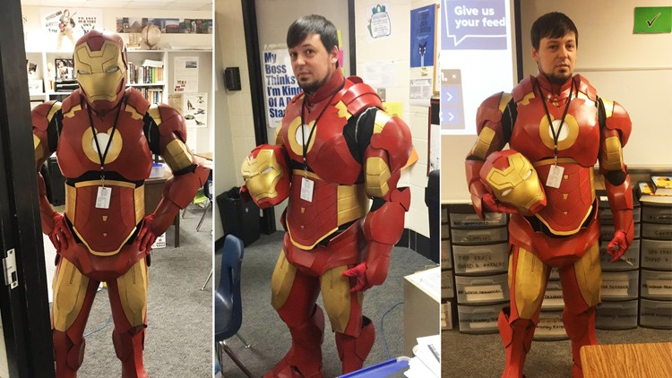 Texas teacher builds Iron Man suit and wears it to class