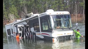 Dog puts fisherman's RV in reverse, backs it into Texas lake