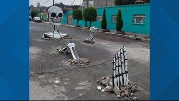 Gigantic skeletons come out of street in Mexico City for Día de los Muertos