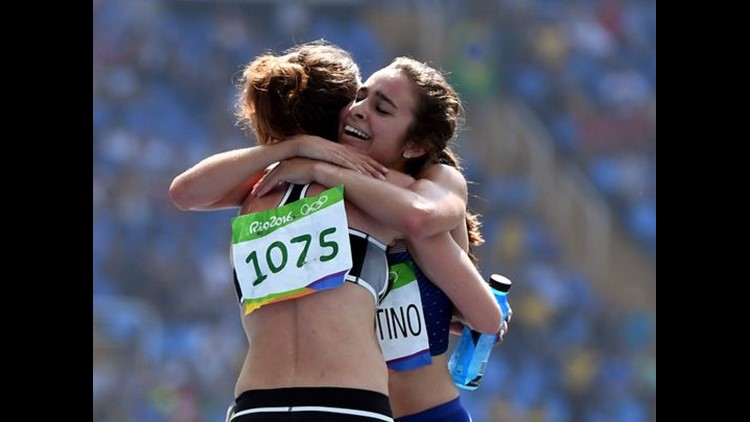 Abbey D'Agostino (USA) and Nikki Hamblin (NZL) embrace after the race.   (Photo: James Lang, USA TODAY Sports)