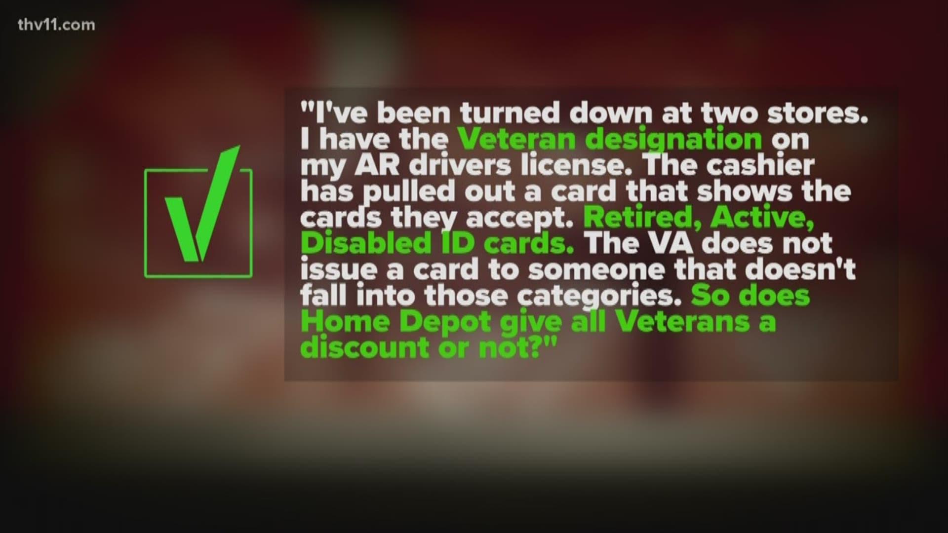 Does Home Depot Give All Veterans A Discount Verify 9news Com