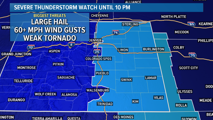 Isolated storms in Denver metro, Severe T'storm Watch on plains