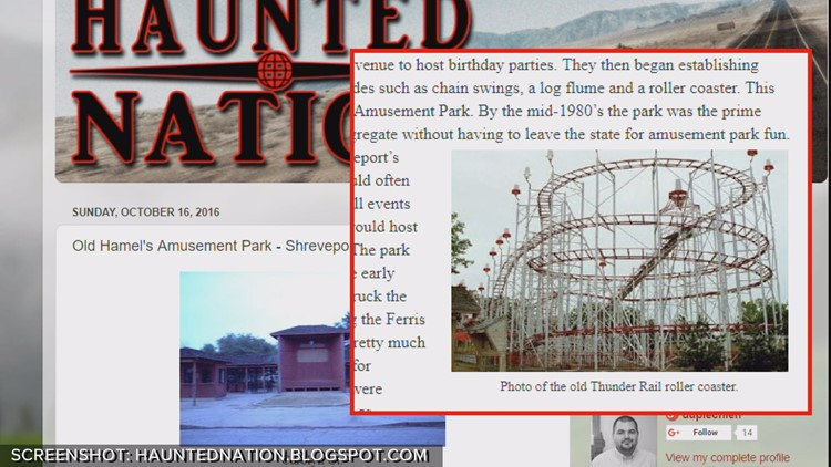 Picture of Haunted Nation blog post on Hamel's Park. Screenshot shows Thunderail.