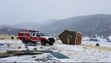 Blizzard-force winds blow over tiny home in Cripple Creek