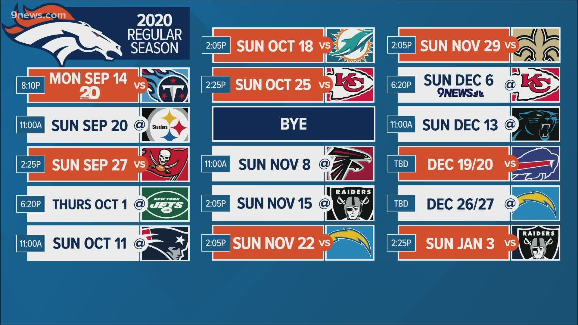 Nfl Schedule 2020 Christmas Denver Broncos 2020 NFL preseason and regular season schedule