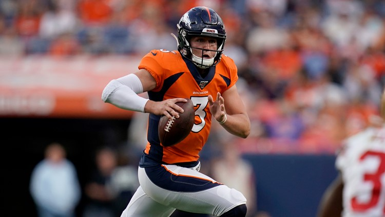 Hogan again No. 2 QB after Broncos learn Lock  sidelined into season with thumb injury