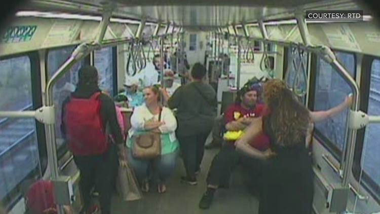Surveillance video shows the moment a light rail train in Denver almost derailed