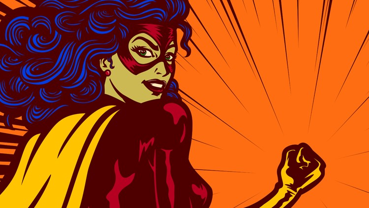 Pop art comic book style super heroine with clenched fist female superhero vector illustration comic comics books