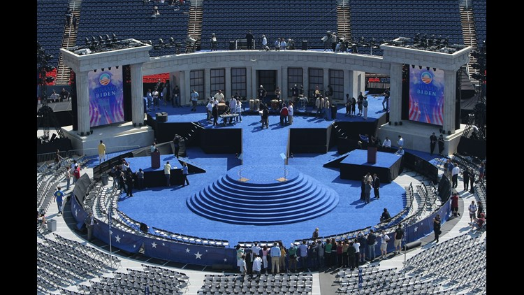 Worker prepare the stage on day four of the Democratic National Convention (DNC) at Invesco Field at Mile High August 28, 2008 in Denver, Colorado.