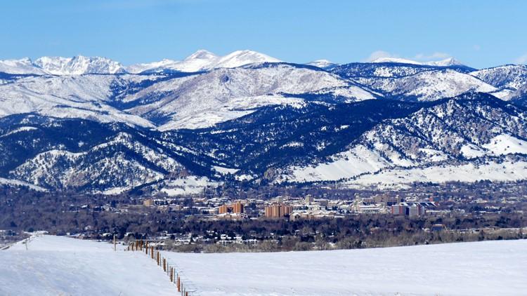 US 36 Boulder turnpike driving into Boulder snowy Boulder Williams Village CU Boulder flatirons scenic overlook