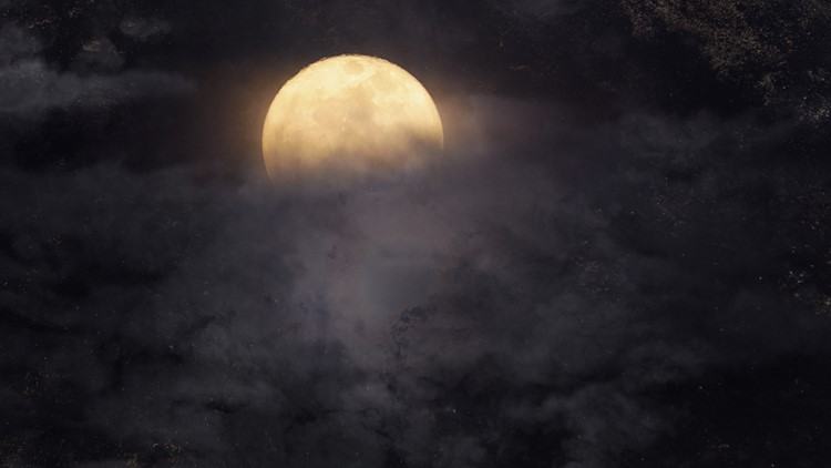 Abstract night sky with full moon for halloween background haunted halloween