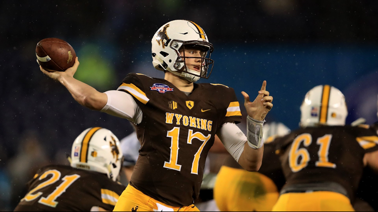 Josh Allen passes the ball during the Poinsettia Bowl at Qualcomm Stadium on December 21, 2016. Photo by Sean M. Haffey/Getty Images.