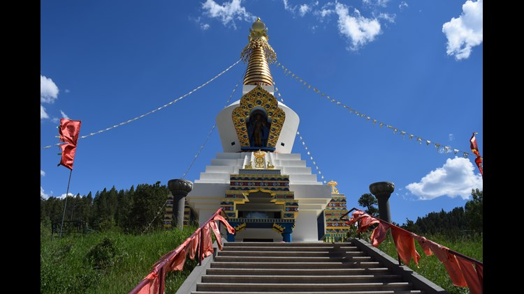 The outside of the Great Stupa outside of Red Feather Lakes.