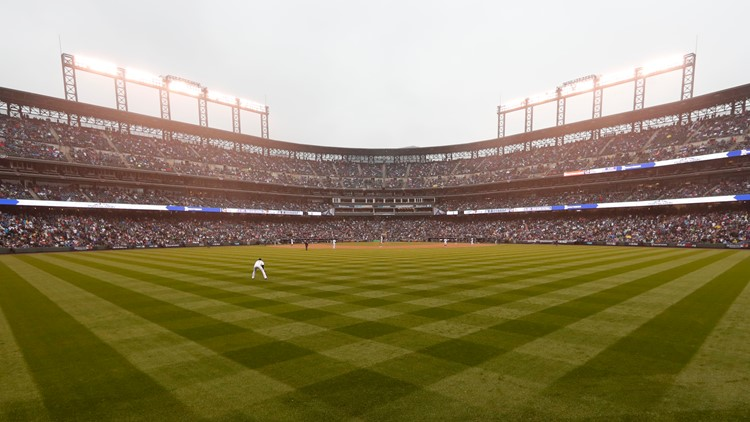 A wide view of Coors Field pretty green ap