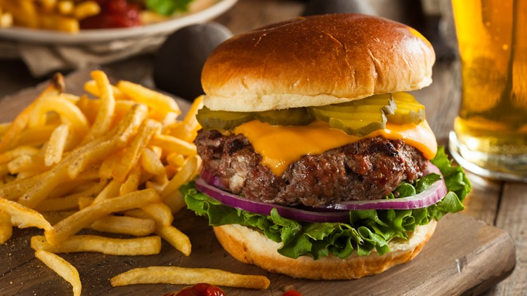 Grass Fed Bison Hamburger with Lettuce and Cheese cheeseburger