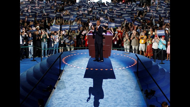 U.S. Sen. Barack Obama (D-IL) greets delegates before he accepts the Democratic presidential nomination at Invesco Field at Mile High at the 2008 Democratic National Convention (DNC) August 28, 2008 in Denver, Colorado.