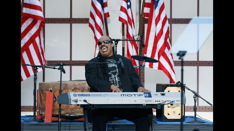 Musician Stevie Wonder performs on day four of the Democratic National Convention (DNC) at Invesco Field at Mile High August 28, 2008 in Denver, Colorado