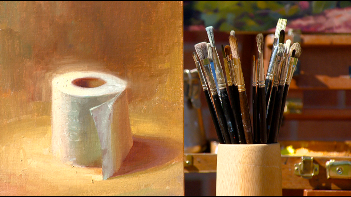 Local artist paints a portrait reflecting current times (hint: it's a toilet paper roll)