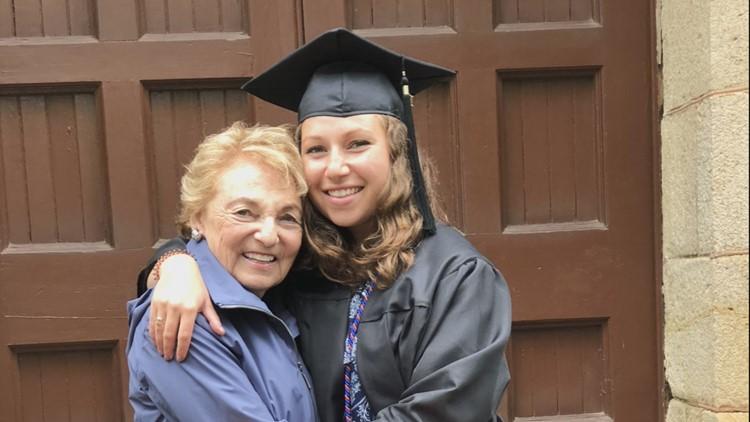 Linda Kornfeld hugs her granddaughter, Izzi Kornfeld, at Izzi's graduation from the University of Virginia