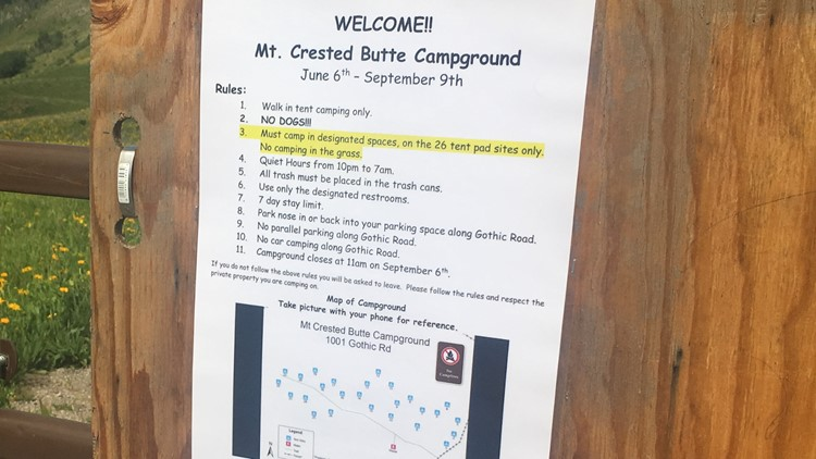Camping rules for Mt. Crested Butte Campground