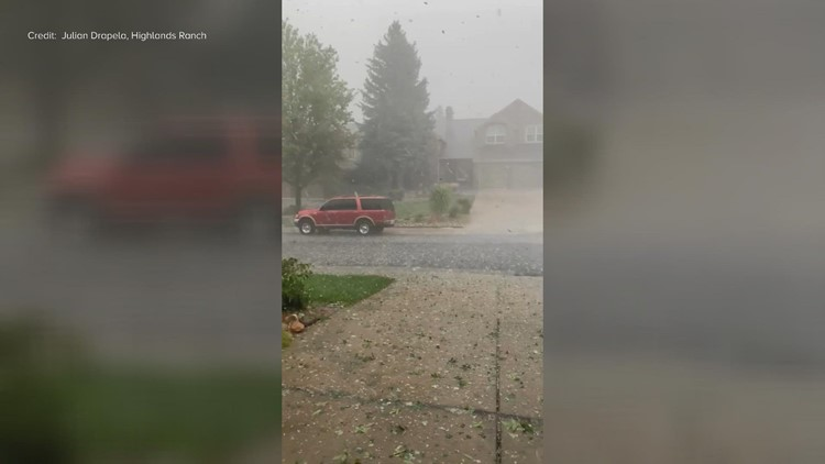 Pounding rain, hail hits Highlands Ranch neighborhood