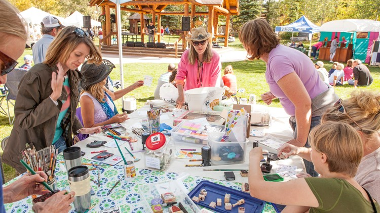 SCAC Interactive Artmaking booth for visitors. Meet the Artsist, Frisco Fall Fest, Frisco, Colorado