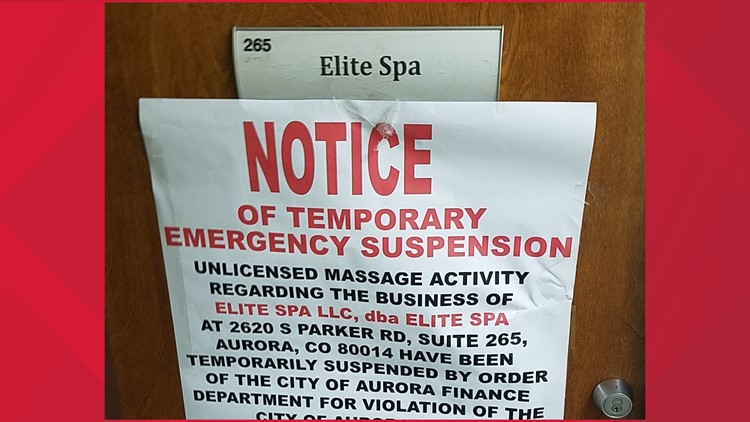 Aurora spas shut down for suspected sex and human trafficking