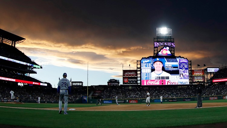 Coors Field pretty sunset AP   April 2019